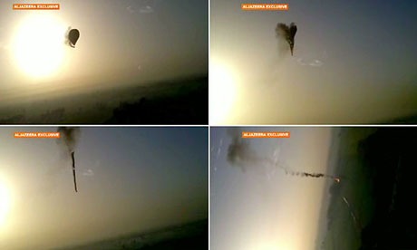 Images from an amateur video  showing the last moments of the stricken balloon over Luxor