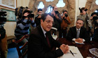 Cyprus's President Nicos Anastasiades chairs a meeting with party leaders in Nicosia