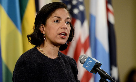 Susan Rice, US ambassador, said the fourth sanctions resolution would target diplomats and banking