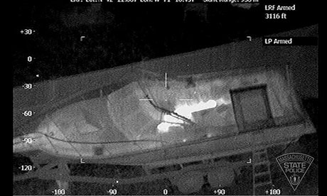 A heat-sensor silhouette of the Boston bombing suspect hiding in a boat, put out on Twitter.