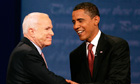 Senator John McCain and Senator Barack Obama shake hands  at first U.S. Presidential Debate in 2008