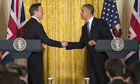 The prime minister, David Cameron, and President Obama shake hands at the White House