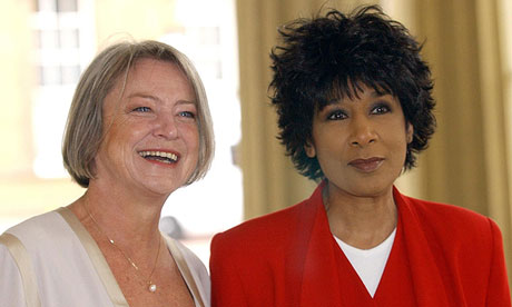 Kate Adie with fellow news-broadcaster Moira Stewart at Buckingham Palace in 2004