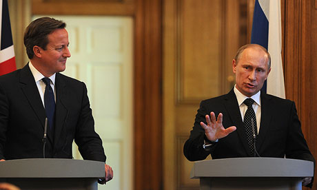 David Cameron and Russia's President Vladimir Putin after talks on the Syrian crisis at No 10