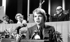 A 16-year-old William Hague addressing the Conservative party conference at Blackpool in 1977.