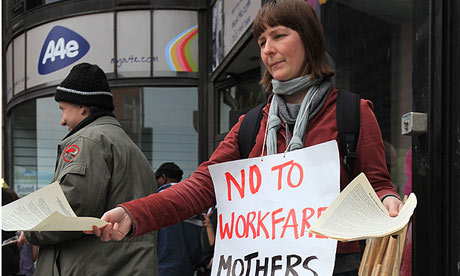 Welfare rights campaigners hold a 'leaving party' for A4e and its former boss, Emma Harrison,