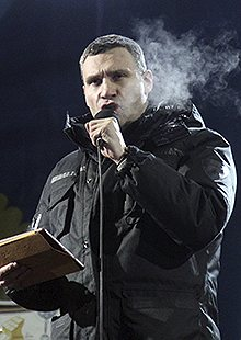 Ukrainian opposition co-leader Vitali Klitschko speaks at an anti-government rally in Kiev