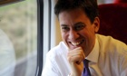 Labour leader Ed Miliband  on train to campaign for Wythenshawe and Sale East by-election