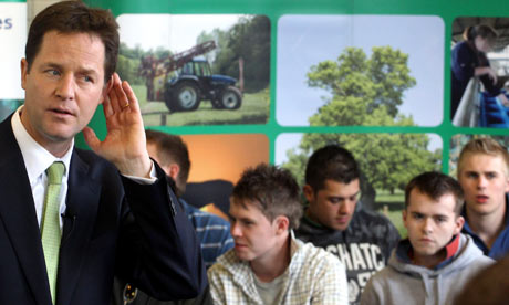 Nick Clegg Talks To Students At An Agricultural College