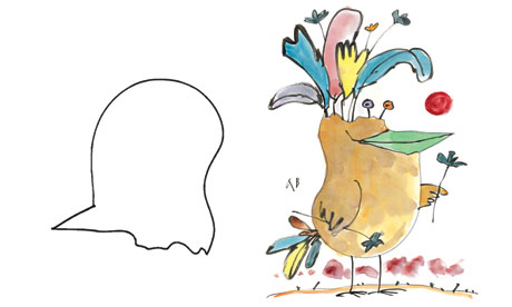 The original shape and, right, Quentin Blake's interpretation which