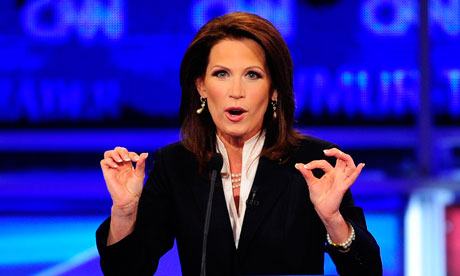 Congresswoman Michele Bachmann speaking during the first 2012 Republican presidential candidates' debate in Manchester, New Hampshire, earlier this month. Photograph: Emmanuel Dunand/AFP/Getty Images