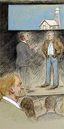 Stuff Happens by David Hare, as witnessed by courtroom illustrator Julia Quenzler