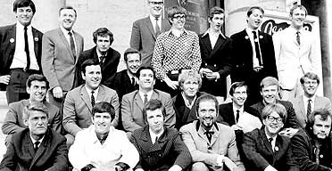 1967 picture of Radio 1 and Radio 2 DJs, with John Peel in the bottom far right corner