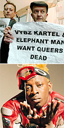 Members of OutRage! protest against dancehall artists, including Elephant Man