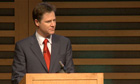 Nick Clegg delivers the 2010 Hugo Young Lecture