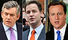 Composite image of Gordon Brown, David Cameron and Nick Clegg