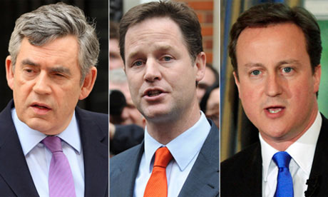 Composite image of Gordon Brown, David Cameron and Nick Clegg