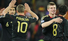 German players celebrate victory against Ghana