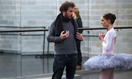 Darren Aronofsky directing Natalie Portman on the set of Black Swan