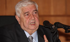 Syrian foreign minister Walid al-Moallem addresses a press conference in Damascus