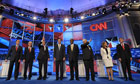 Republican presidential candidates line up before a debate on national security