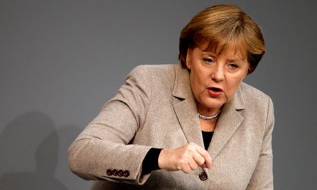 Angela Merkel speaks at German federal parliament