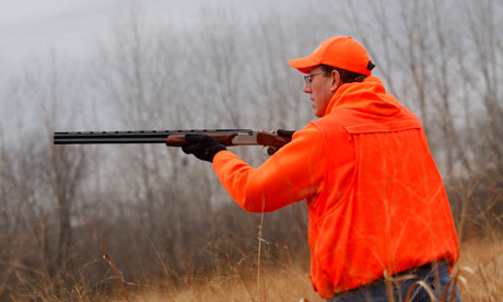 Rick Santorum on a pheasant hunt in Adel, Iowa