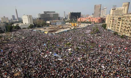 Crowds gather for Egyptian protest