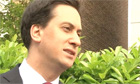 Labour leader Ed Milliband reacts to local election results