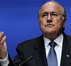 FIFA President Sepp Blatter gestures during a press