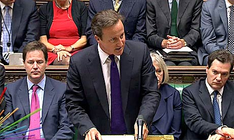 David Cameron speaks in parliament