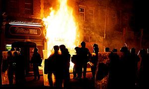 Building burning during Tottenham riots