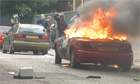 A burning car in Hackney, London