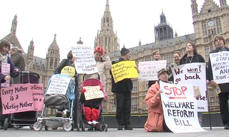 Welfare reform protest outside the House of Lords
