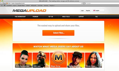 The Megaupload website before it was removed