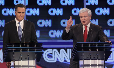 Mitt Romney and Newt Gingrich in the CNN debate