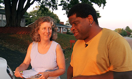 Gary Younge talks to Democrats in Roanoke, Virginia, about Obama's first term as president