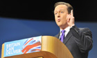 David Cameron speaks to the Conservative party conference