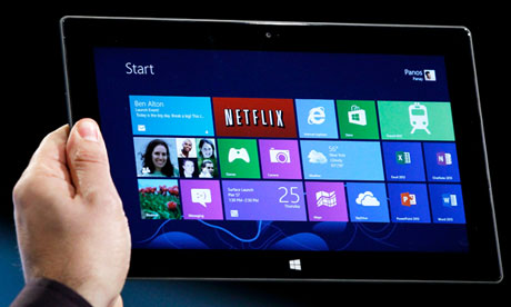 Microsoft Surface tablet is shown at the launch event for Windows 8