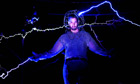 Endurance artist David Blaine surrounded by arcs of electricity