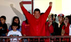 Hugo Chávez celebrates winning Venezuelan election