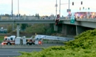Truck hangs off motorway bridge in Oregon