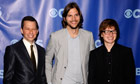Angus Jones (right) with Two and Half Men co-stars Jon Cryer and Ashton Kutcher