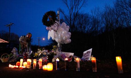 A memorial near Sandy Hook elementary school
