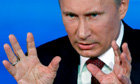 Vladimir Putin speaks at press conference in Moscow