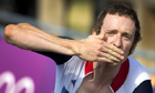 Britain's Bradley Wiggins approaches the finish like to win the gold medal