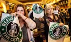 Protesters at the Conduit Street branch of Starbucks