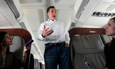 Mitt Romney en route from Florida to Minnesota and Nevada. Photograph