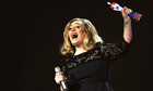 Singer Adele receives the award for British Album during The BRIT Awards 2012