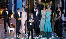 Oscars 2012: Producer of The Artist Thomas Langmann accepts the award for Best Motion Picture